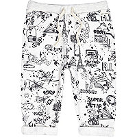 Mini boys light grey doodle print jogger