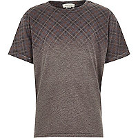 Boys grey faded check print burnout t-shirt