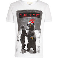 Boys white bear with me print t-shirt