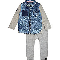 Mini boys denim shirt and joggers set