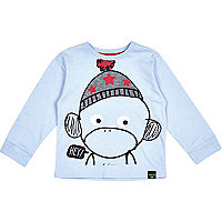 Mini boys blue monkey face t-shirt