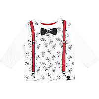 Mini boys white monkey braces t-shirt