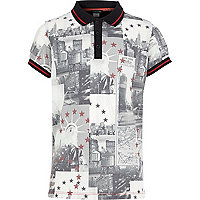 Boys white USA postcard print polo shirt