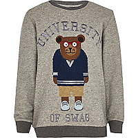 Boys grey bear sweatshirt