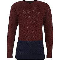 Boys dark red colour block knit jumper