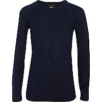 Boys navy honeycomb knit jumper