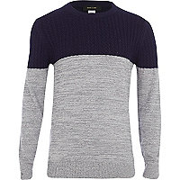 Boys grey lightweight cable knit jumper
