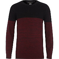 Boys dark red lightweight cable knit jumper