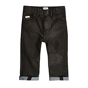 Mini boys dark wash coated denim jeans