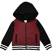 Mini boys dark red bomber jacket