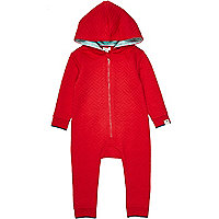 Mini boys red quilted all in one