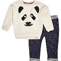 Mini boys cream panda and joggers set