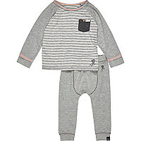 Mini boys grey stripe tee and jogger set