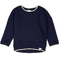 Mini boys navy quilted sweatshirt