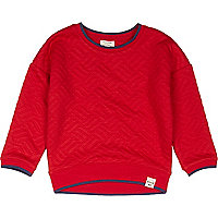 Mini boys red quilted sweatshirt