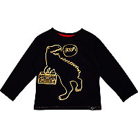 Mini boys black fluro dinosaur t-shirt