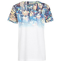 Boys white city fade print t-shirt
