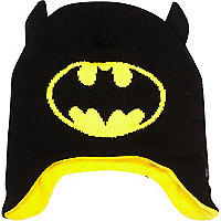 Boys black Batman trapper beanie hat