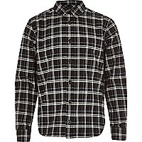 Boys black check smart shirt