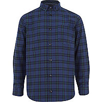 Boys navy check smart shirt