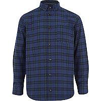 Boys navy check smart shirt