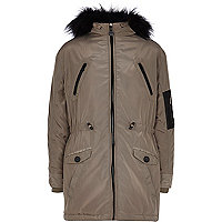 Boys grey parka coat with faux fur collar