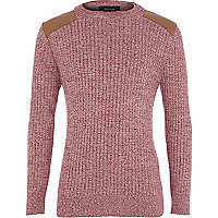 Boys red skinny rib jumper