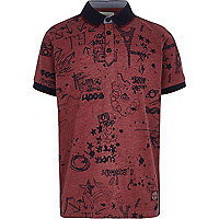 Boys red doodle print polo shirt