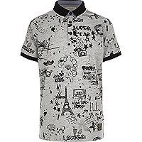 Boys grey doodle print polo shirt