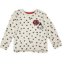 Mini boys ecru star print t-shirt