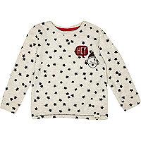 Mini boys ecru star print t-shirt
