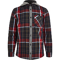 Boys red check hooded shirt