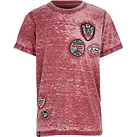 Boys red burnout badge t-shirt