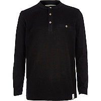 Boys black grandad long sleeve polo t-shirt