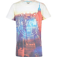 Boys white LA city print t-shirt