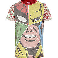 Boys red Marvel face t-shirt