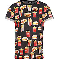Boys black fries print t-shirt