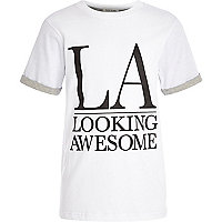 Boys white LA print rolled sleeve t-shirt