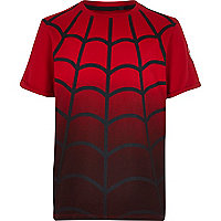 Boys red dip dye Spiderman web t-shirt