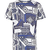 Boys blue aztec print t-shirt