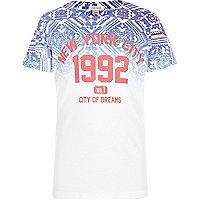 Boys white aztec fade NY print t-shirt