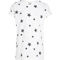 Boys white star print t-shirt