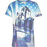 Boys blue city flag print t-shirt