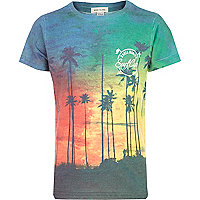 Boys blue Santa Monica palm print t-shirt