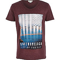 Boys red San Fransico city flag print t shirt