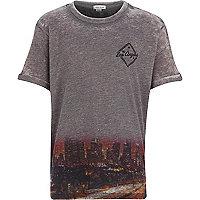 Boys grey LA print burnout t-shirt