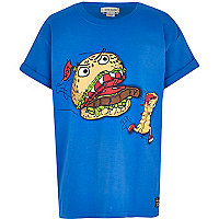 Boys blue fast food print t-shirt