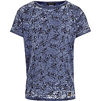 Boys blue Skeleton print t-shirt