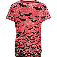 Boys red bat print t-shirt
