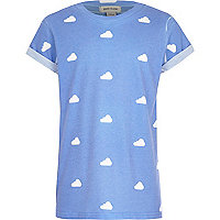 Boys blue cloud print t-shirt